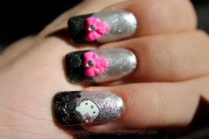 Hello Kitty 3D ribbon nail art design by Psycho--Princess