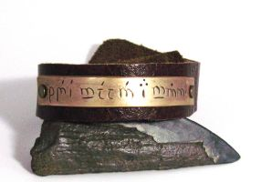 Speak Friend and Enter Elvish Bracelet by Peaceofshine