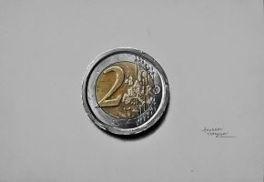 2 Euro Coin Drawing by Anubhavg