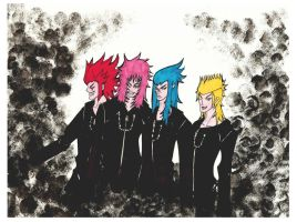 Marluxia, Saix , Demyx and Axel by blackflameknight