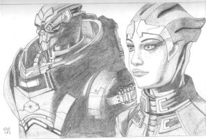 Mass Effect 3: Garrus and Liara by xdarknessfalls