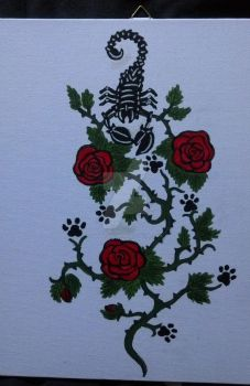 Scorpion with Roses - Acryl by Darknessangel92