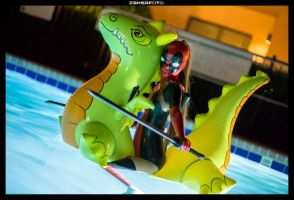 Lady Deadpool and Nessie by theARTofCARNAGE