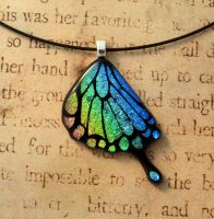 Rainbow Swallowtail Wing Fused Glass Pendant by FusedElegance