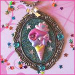 Ice Cream Cone Cameo Necklace by bapity88