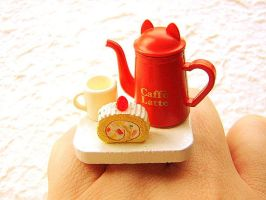 Cat Coffee Pot Roll Cake by souzoucreations