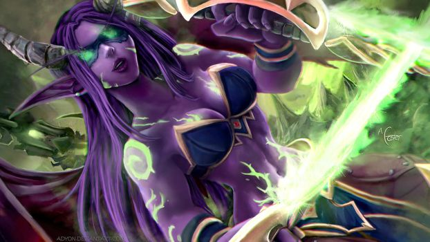Female Illidan - Warcraft (Wallpaper Angle) by Adyon