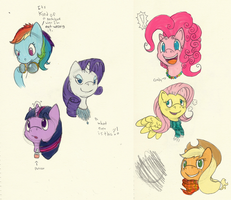Ponies in necklaces (color) by thepiplup