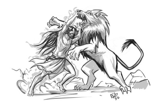 Samson vs Lion - sketch commission by EryckWebbGraphics