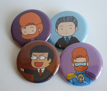 Late Night TV Hosts Button Set by ThePockyGirl