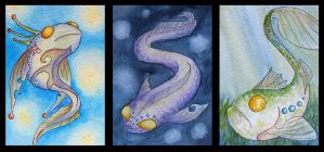 ATCs: Strange Fish by Athalour