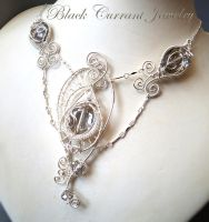 Crystal Butterfly Necklace - Silver by blackcurrantjewelry