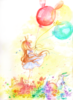 Rabbit Balloon by fuwa-san