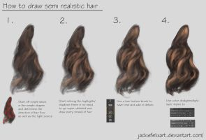 How to draw semi realistic hair tutorial by Jackiefelixart