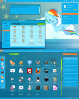 Rainbow Dash Gnome-shell 3.2 theme v2 by Hopskocz
