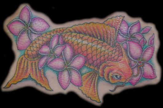 koi and plumerias tattoo by hellcatmolly