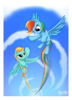 Rainbow Dash and Lightning Dust flying by mysticalpha
