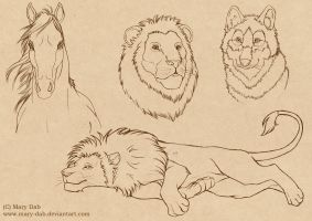 Old Animal Sketches by mary-dab