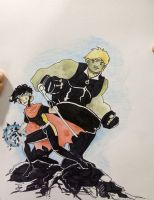 Commission - Hulkling and Wiccan by freddyscribbles
