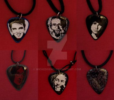 Hand Painted Pick necklaces by wickedgems