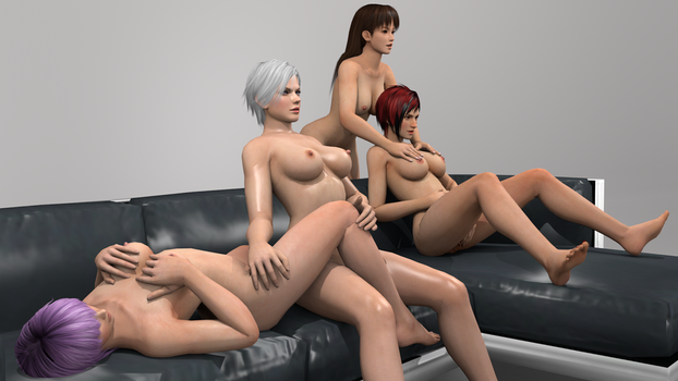 Couch Session Lei Fang, Mila, Ayane and Christie 1 by vamp3003