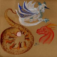 Dragons and a coffee stayn. by acidshadow