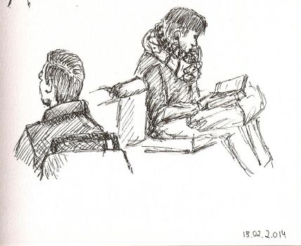 Sketch on the bus and train by anne-summer