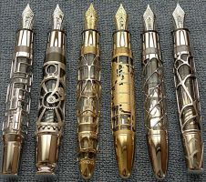 Steampunk pens by Nabidee