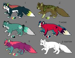 Adoptable Foxes by Kennadee