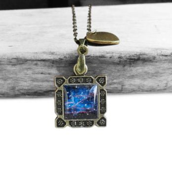 Vintage Bronze Midnight Blue Galaxy Necklace by crystaland