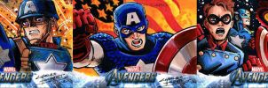 Avengers sketch cards Captain America by KidNotorious