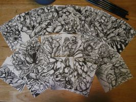 VENOM CARNAGE AND ZZXZ SYMBIOTES SKETCH CARDS INK by AHochrein2010
