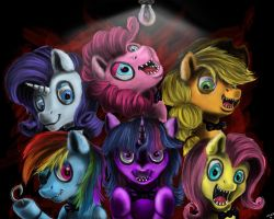 Commission : Five nights at the Mane 6 by VittorioNobile