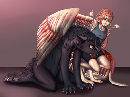 Commission - The Werewolf and the Harpy by MiaMaha