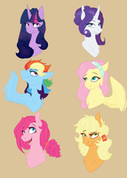 Older mane six by Brielleo
