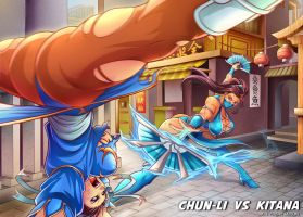 Chun-li VS Kitana _ Commission by Sano-BR