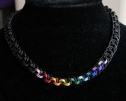 Black and Centered Rainbow Viper Basket Necklace - by Ichi-Black