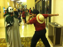Holiday Matsuri: Strong World Luffy VS the Lich by D-warrior35