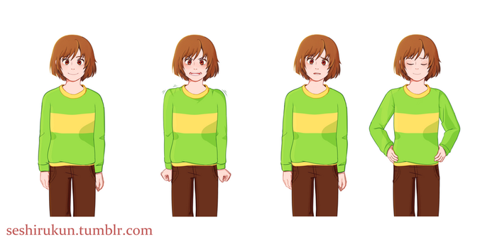 Undertale Kissy Cutie fangame Chara sprites by atomicheartlight