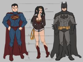 Batman and Superman and Wonder Woman scribble by rapier1874