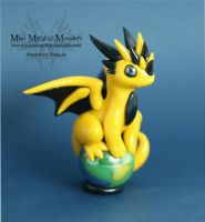 Yellow and Black dragon on Green Marble by MiniMythicalMonsters