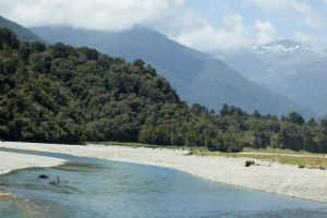 NZ river, pebble mountain in back low quality by Chunga-Stock
