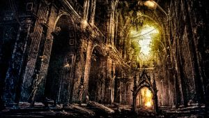 Lost Cathedral: a Human caught in Monochrome Dream by BlazeNecros