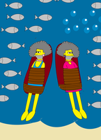 Patty and Selma Gagged and Tied Up Underwater by kbinitiald