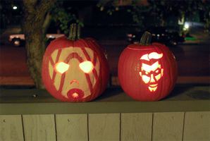 Handsome Jack o'lantern and Psycholantern by FlykyrSkysong
