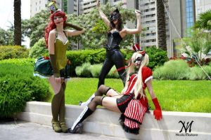 poison Ivy, Harley Quinn and Catwoman steampunk by nonsochenomedare