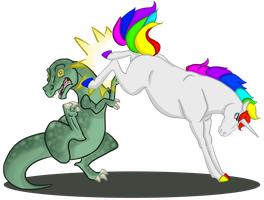 Why not kick a Dino in the face? by DragonsFlameMagic