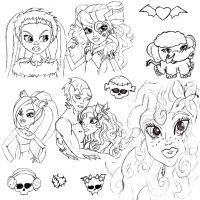 monster high sketches by Fallonkyra