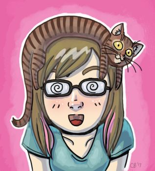 Kitty on my head by sketchdoll