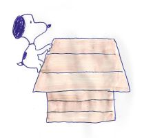 Snoopy climbs his doghouse by dth1971